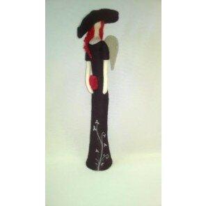 Anioł Dama czarna w kapeluszu 40 cm